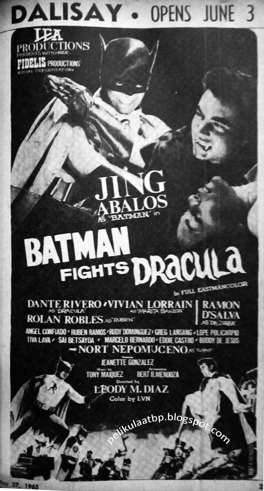 Batman Fights Dracula (Release Date - June 3, 1965)