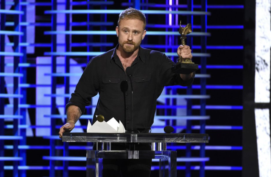 """Ben Foster accepts the award for best supporting male for """"Hell or High Water"""" at the Film Independent Spirit Awards on Saturday, Feb. 25, 2017, in Santa Monica, Calif. (Photo by Chris Pizzello/Invision/AP)"""